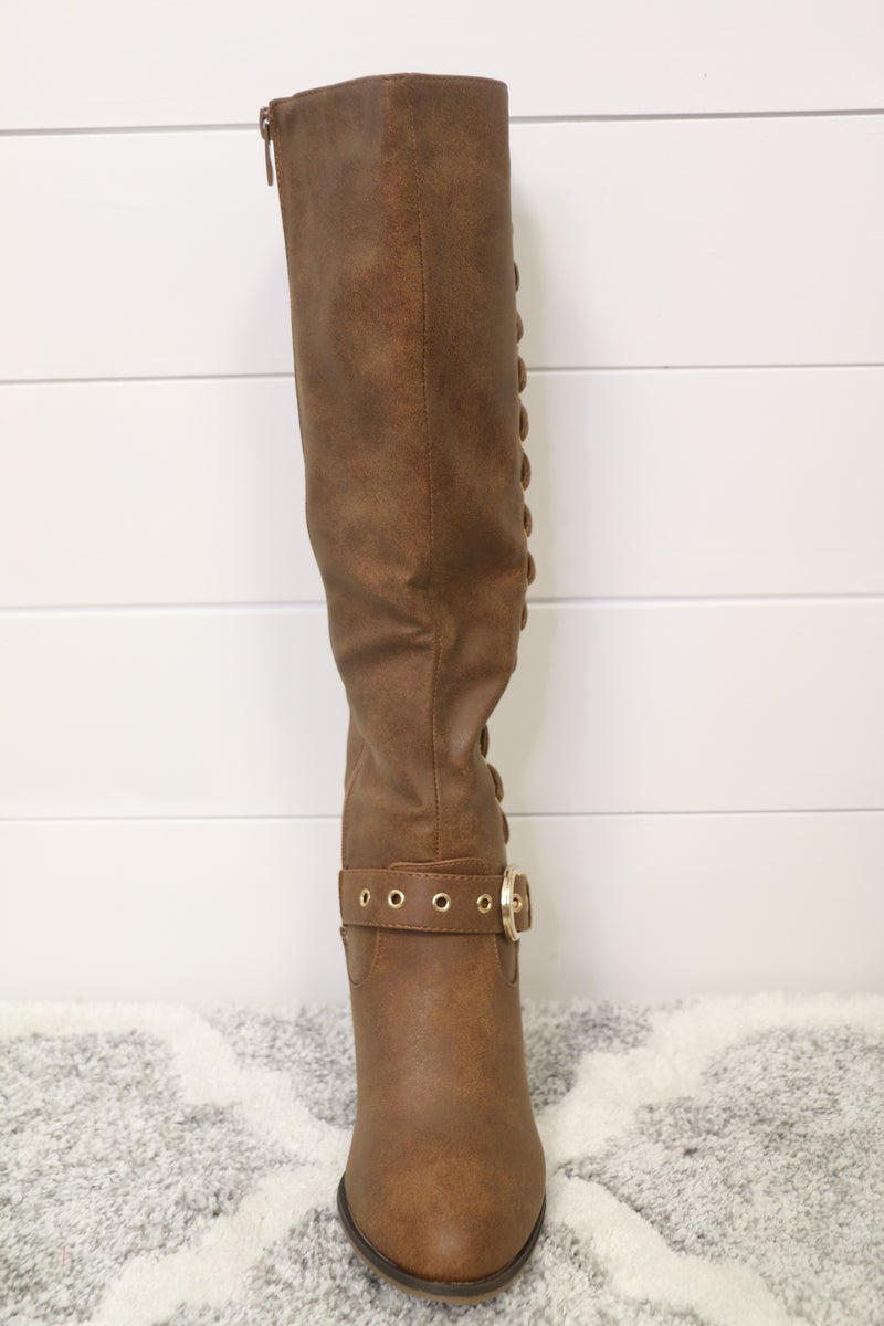 Keep Marching Laced Up Tan Boot with Accent Buckle - Sizes 6-10