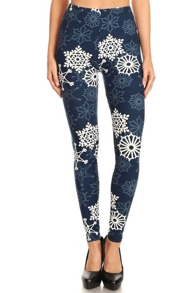 Fun Print Snowflake Leggings in Navy - Sizes 4-20