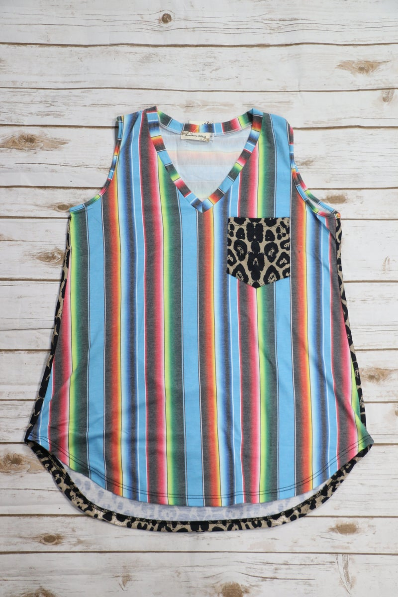 Go Your Own Way Serape Tank with Leopard Back and Accent Pocket - Sizes 4-20