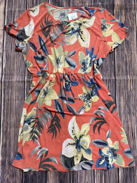 Light Up My Life Coral Floral Dress with Tie Waist - Sizes 12-20
