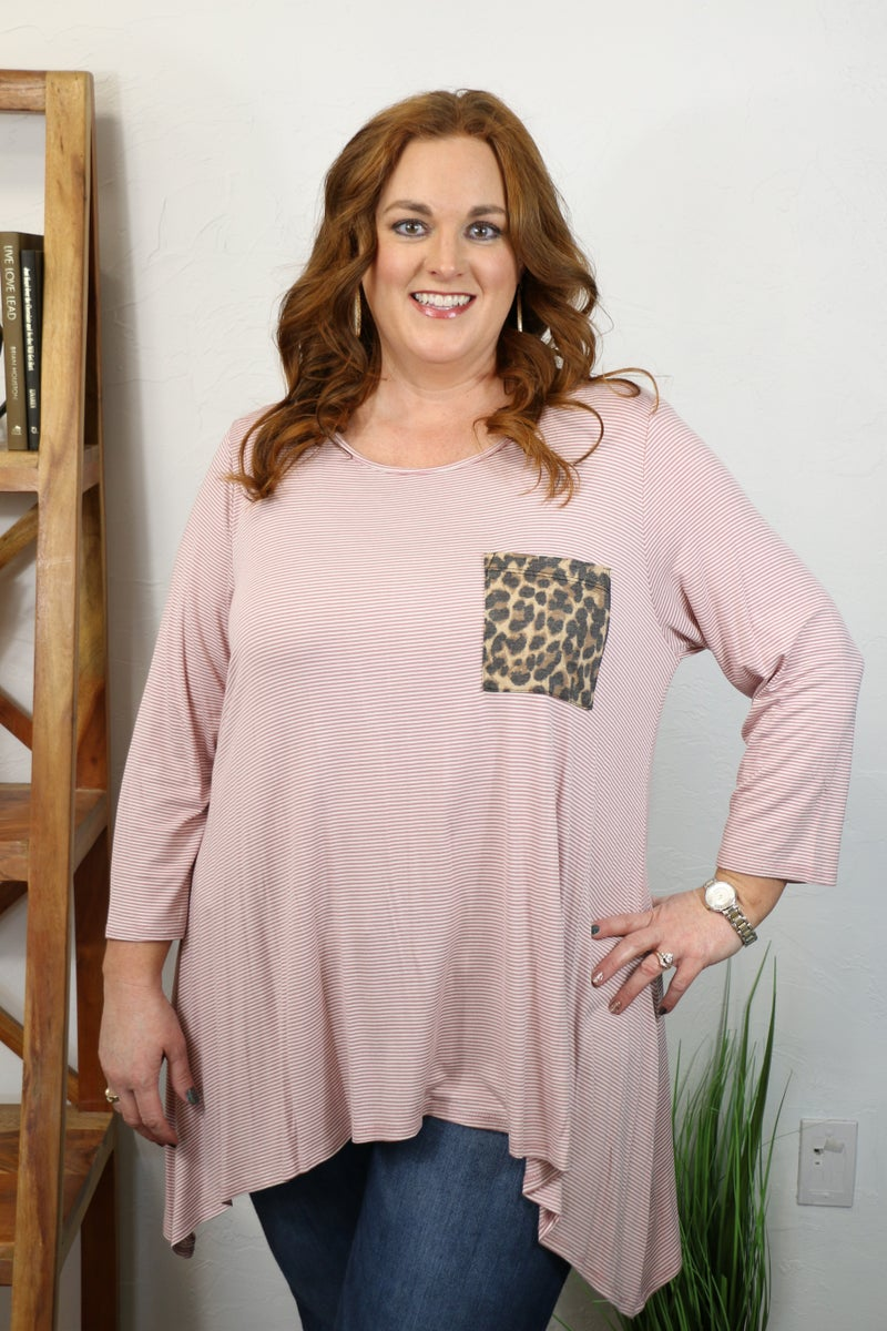 Always a Good Time Striped Tunic with Shark Bit Hem and Leopard Accent Pocket in Multiple Colors - Sizes 12-20