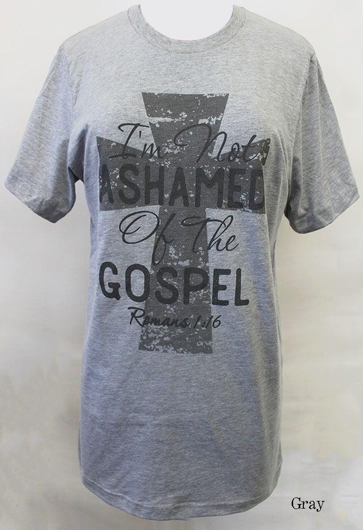 I'm Not Ashamed of The Gospel Graphic Tee in Gray - Sizes 4-20