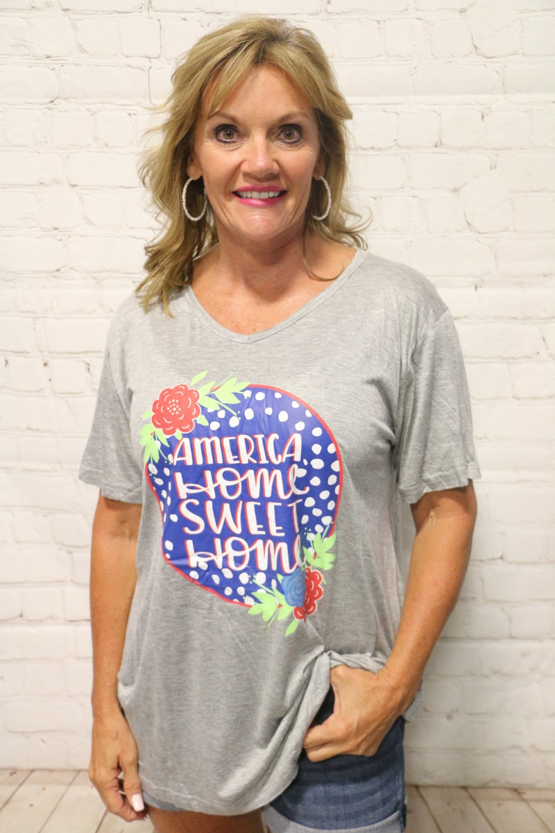 America Home Sweet Home Gray Graphic Tee With Floral Accent