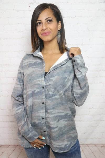 Looking High and Low Distressed Camo Sherpa Lined Flannel - Sizes 4-20