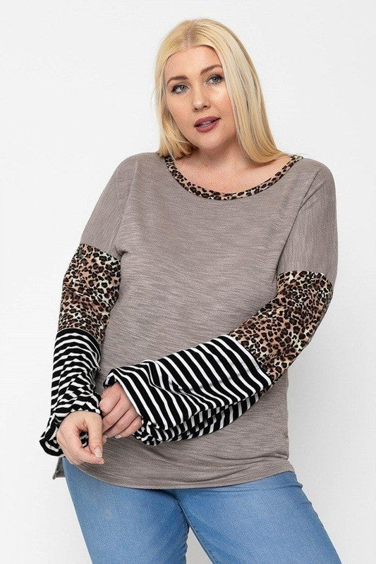 Leopard & Striped Bubble Sleeve Top in Multiple Colors - Sizes 12-20