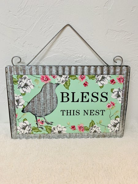 Bless This Nest Metal Wall Hanger