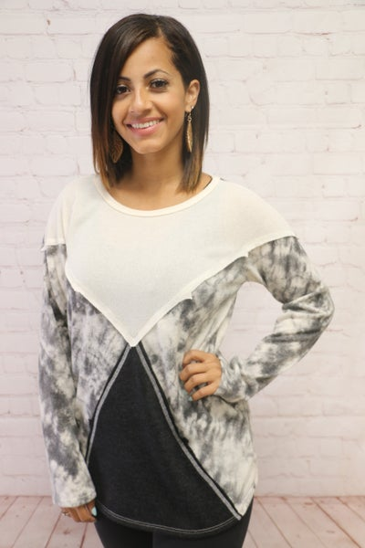 Light Up the Sky Abstract Tie Dye and Ivory Long Sleeve Top in Multiple Colors - Sizes 4-12