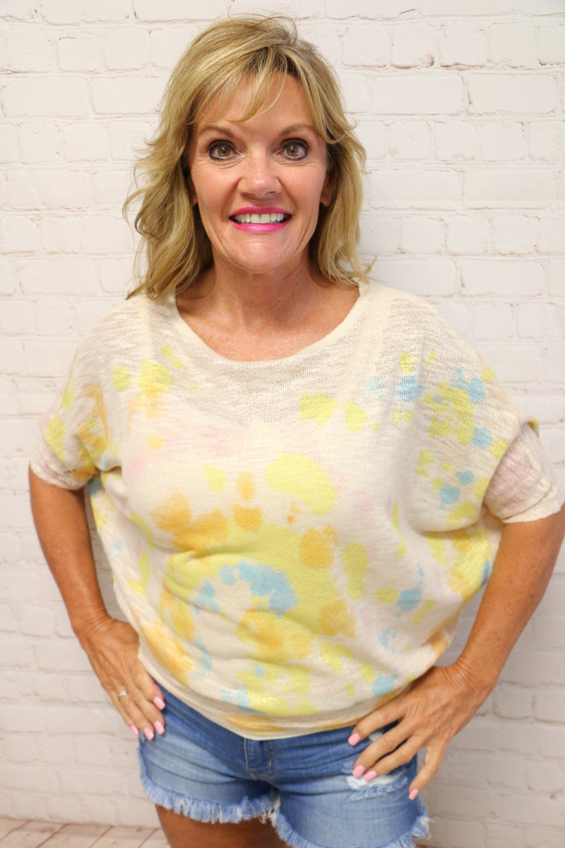 More Than A Feeling Tie Dye Dolman Knit Top In Multiple Colors - Sizes - 4-20