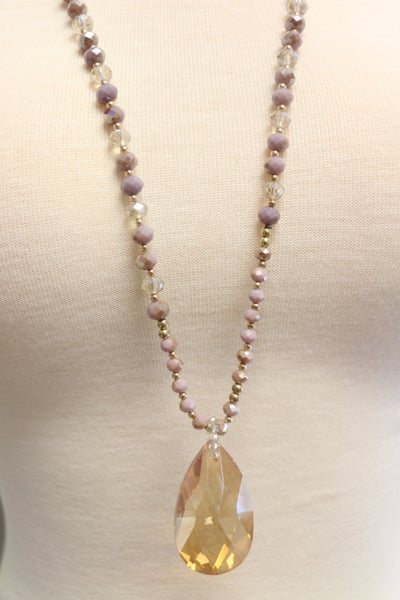 A Perfect Fit Lavender And Mocha Crystal Necklace With Amber Pendant