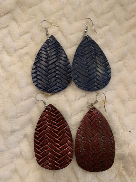 Too Late Chevron Leather Teardrop Earring In Multiple Colors