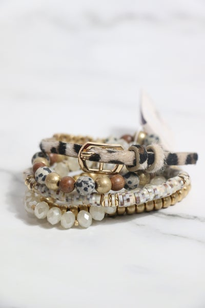 BLESSED 5 Strand Rubber Disc Crystal And Stone Bead And Leopard Ponyhair Bracelet