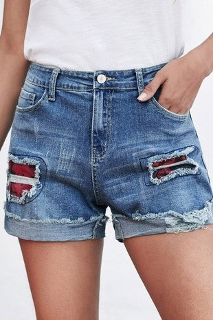 The Kelsey Medium Wash Rolled Cuff Distressed Short with Buffalo Check Patches - Sizes 4-18