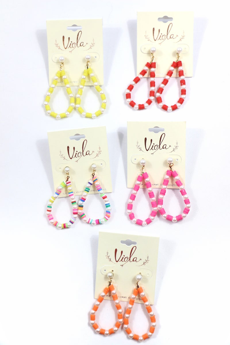 On The List Pearl And Rubber Disc Teardrop Earring In Multiple Colors