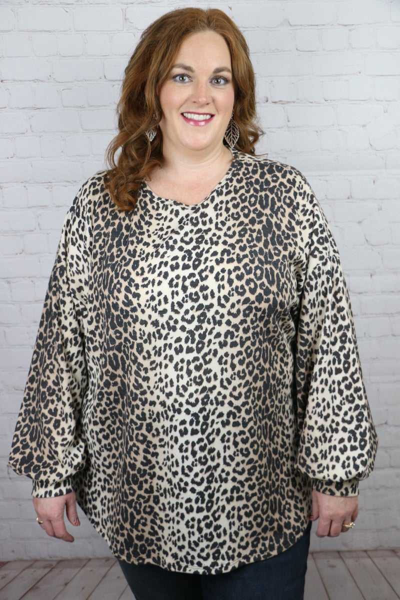 Know You Well Leopard Top with Bubble Sleeves - Sizes 12-20