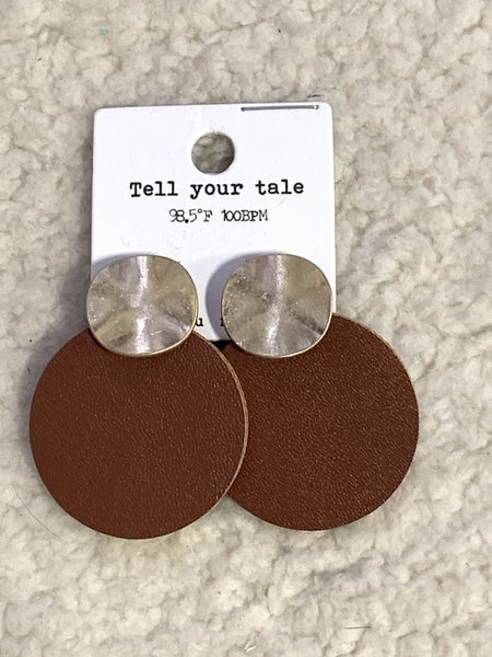 Imagine Gold Disc And Brown Leather Circle Earring