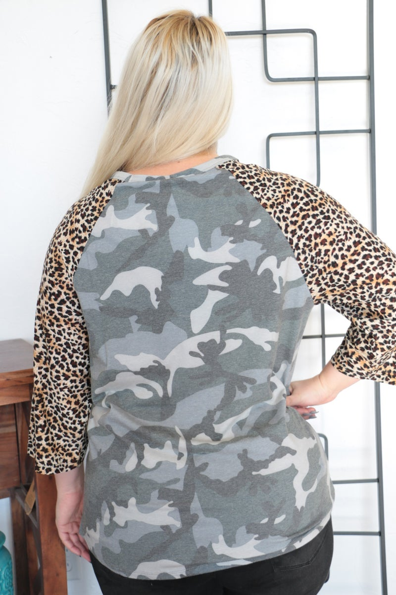 I'm Impressed Gray Camo Raglan with Leopard Accent Sleeve Sizes 4-20