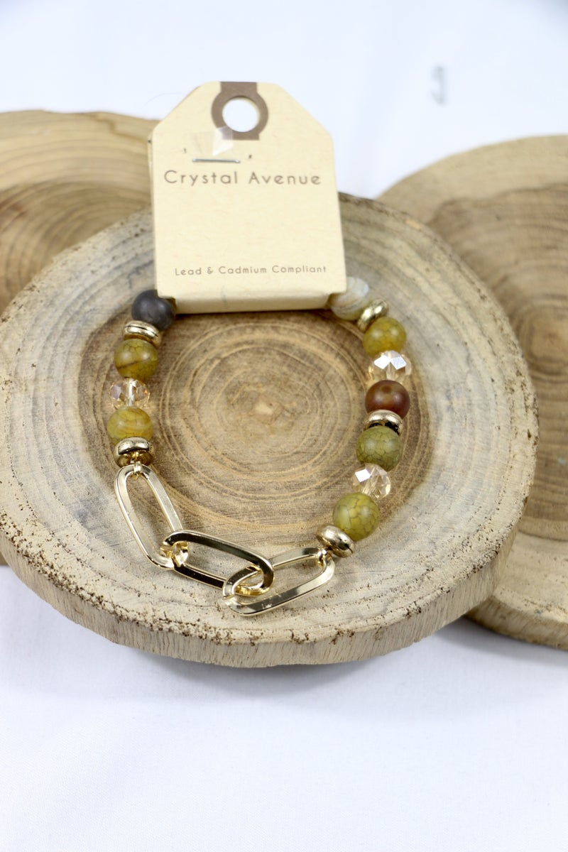 Today's The Day Stone Crystal And Gold Link Stretch Bracelet In Multiple Colors