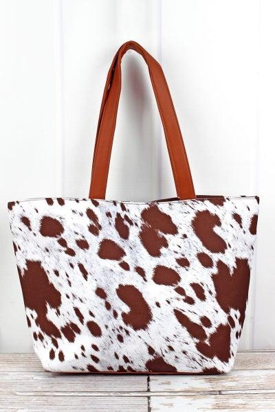 Get Mooooving Brown Cow Shoulder Tote Bag