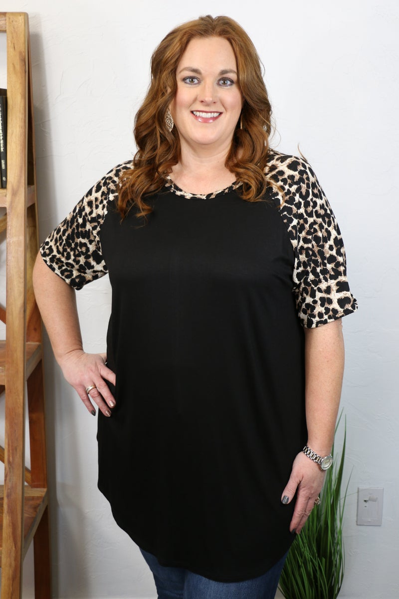 Pouncing Through the Jungle Black Top with Leopard Accent Sleeve - Sizes 12-20