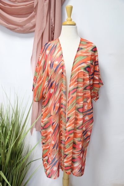 Looks Like You Orange Abstract Sheer Kimono - Sizes 12-20