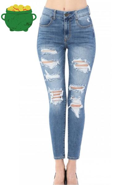 The Brooke Distressed Skinny Jeans in Medium Denim - Sizes 0-15