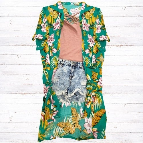 On The Move Tropical Floral Duster in Green - One Size Fits Most