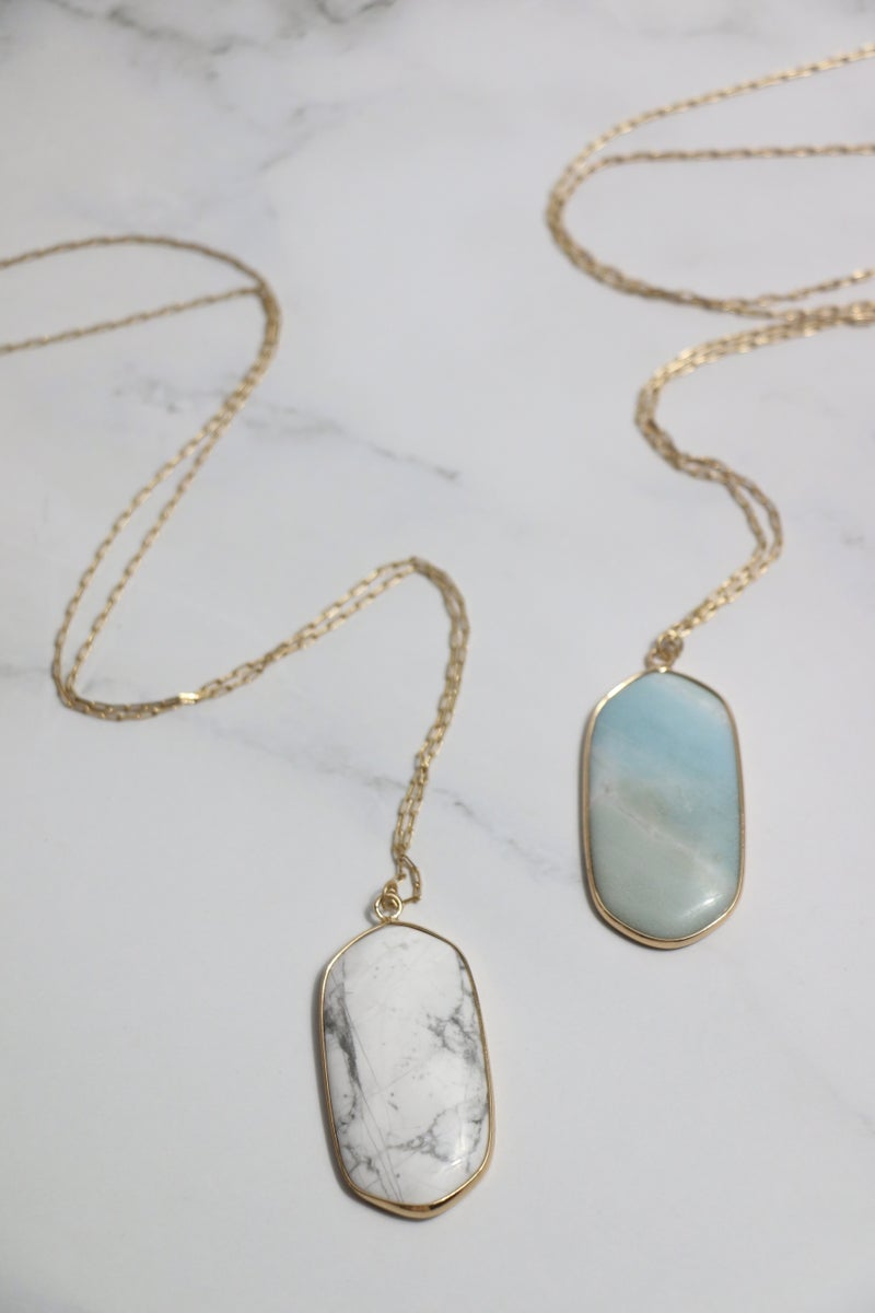 Anything For You Long Gold Necklace With Oblong Stone Pendant In Multiple Colors