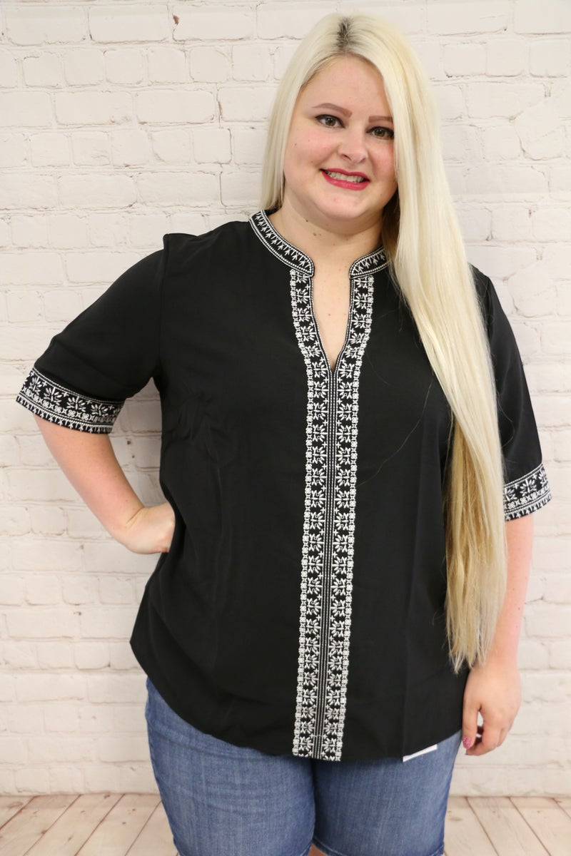 Ayla Embroidered Boho V Neck Half Sleeve Top In Multiple Colors Sizes - 4-20