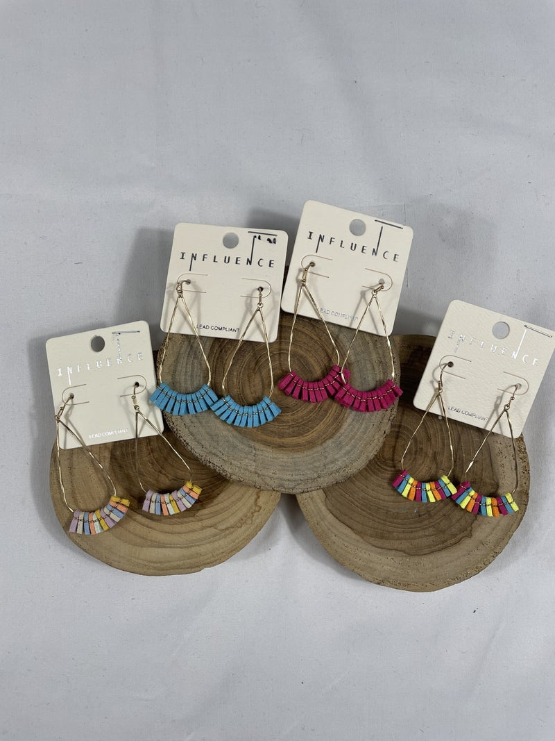 Focus On The Good Long Gold Teardrop Earring With Short Leather Fringe Tassel In Multiple Colors