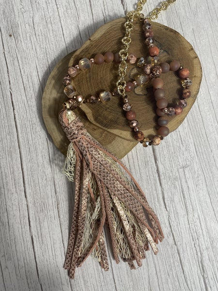 Snakeskin Tassel & Lace Beaded Necklace in Multiple Colors