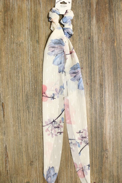 Beautiful Days Blue And Pink Floral Scrunchie Hair Scarf
