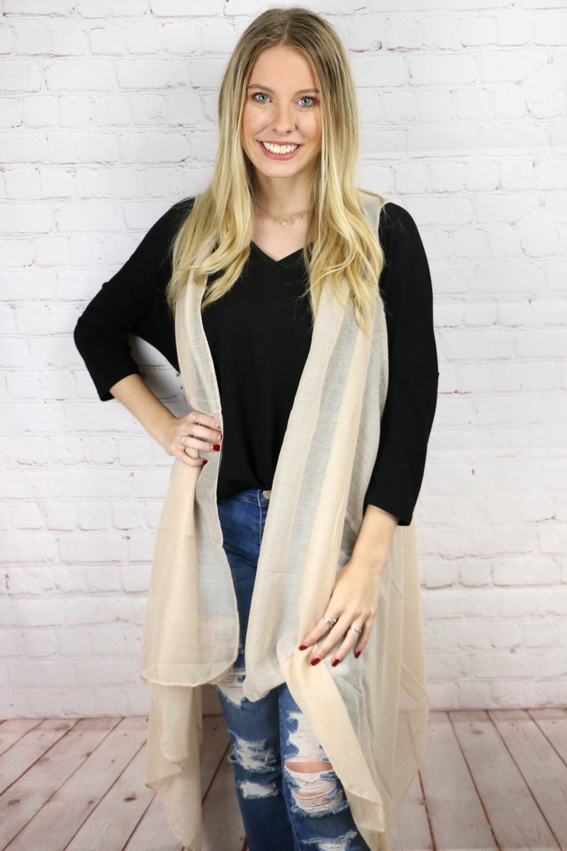 Just Be You Lightweight Vest with Tassels in Multiple Colors - One Size Fits Most