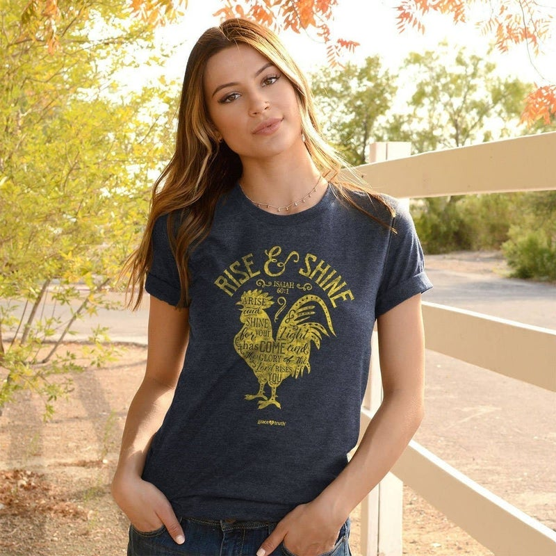 Rise & Shine Isaiah 60:1 Graphic Tee in Denim Heather - Sizes 4-18