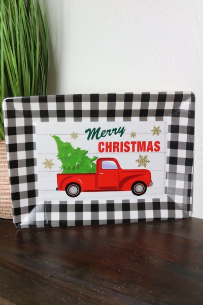 Party Time Acrylic Serving Tray With Red Truck And Black And White Buffalo Plaid