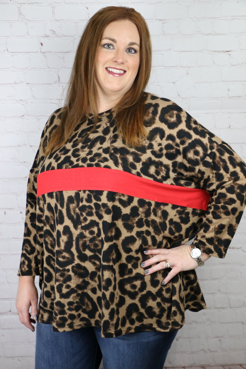 What A Night Leopard Dolman Top with Stripe in Multiple Colors - Sizes 4-20