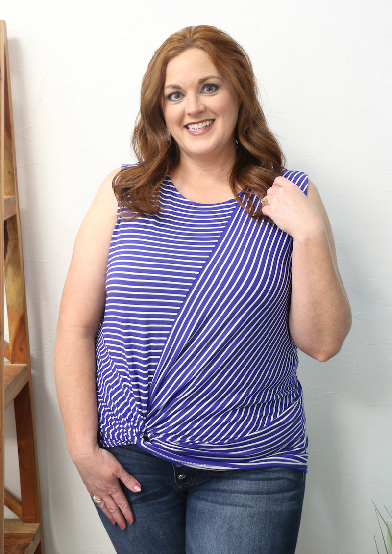 No Problems Knotted Hem Striped Tank Top in Multiple Colors - Sizes 4-20