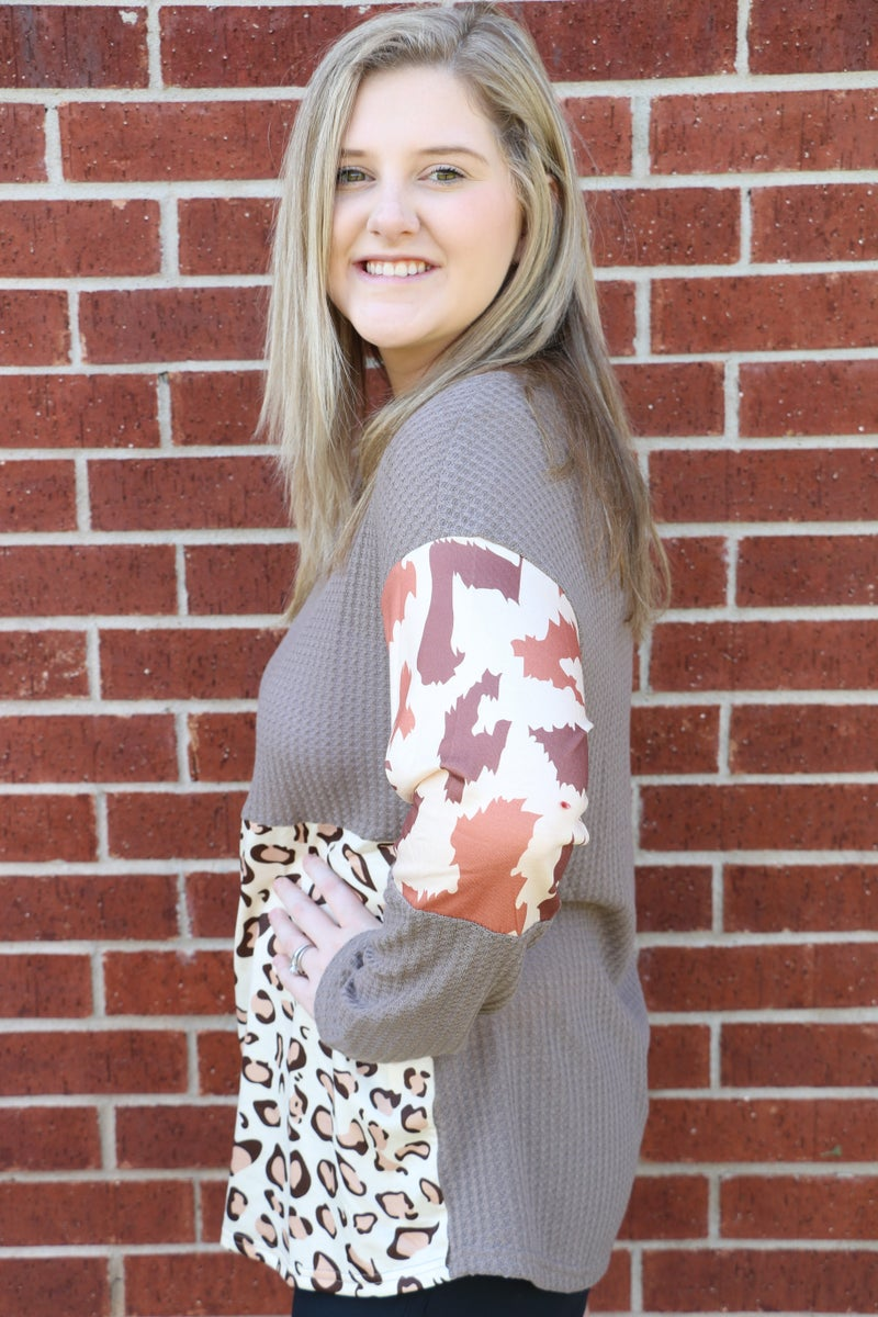 Such Fun Cow & Leopard Print Waffle Colorblock Top in Gray - Sizes 4-20