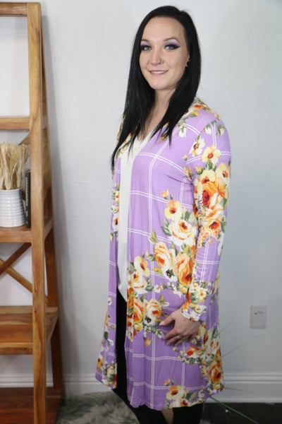 Live a Little Lilac Floral Cardigan with Pockets - Sizes 4-10