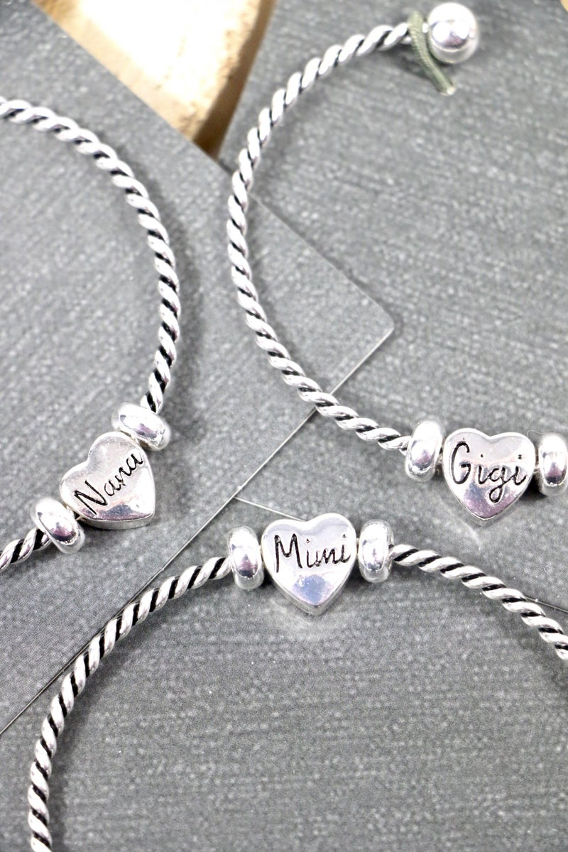 Grandma's Silver Twist Adjustable Bracelet With Heart Pendant In Multiple Names
