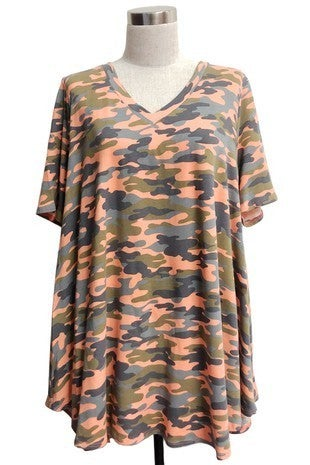 Look for Me Orange and Gray Camo Short Sleeve Top - Sizes 12-20
