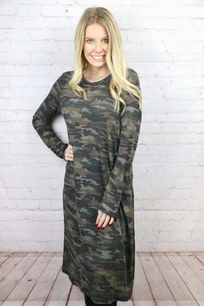 Feeling Fun Waffle Print Camo Dress - Sizes 4-20