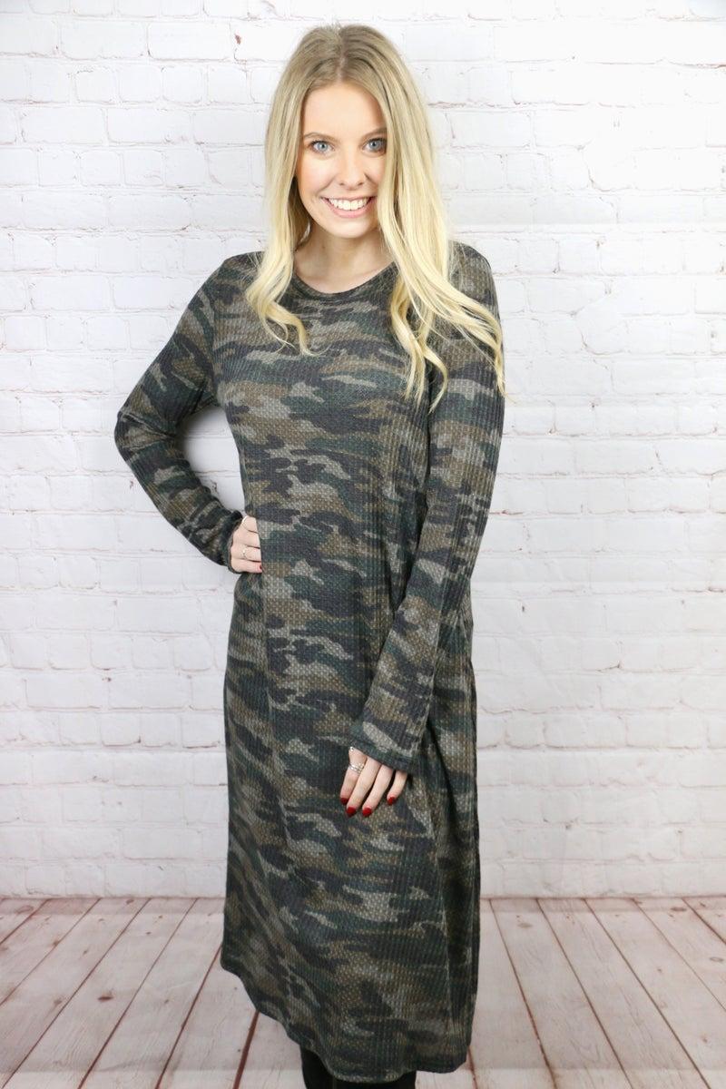 Feeling Fun Waffle Print Camo Dress - Sizes 4-20