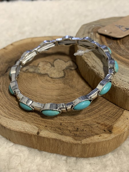 The Perfect Touch Silver and Turquoise Stretch Bracelet
