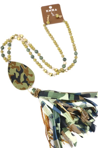 Hidden Thoughts Long Beaded Necklace With Camo Teardrop Pendant And Tassel