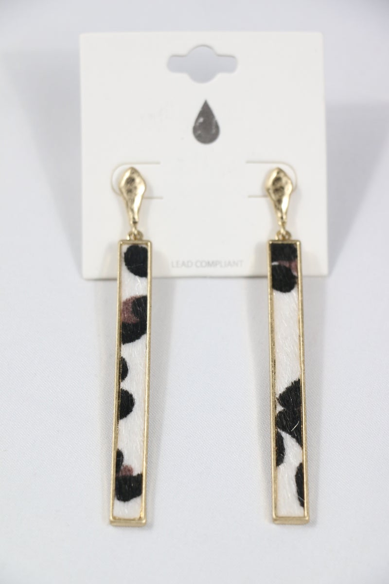 On The Wild Side Gold Earring With White Leopard Rectangle Pendant