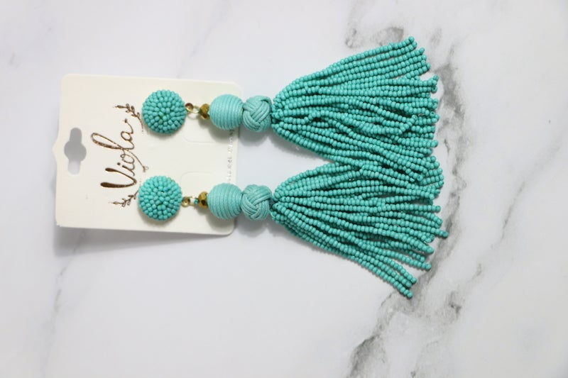 Life Of The Party Long Beaded Tassel Earring With Beaded Button Post In Multiple Colors
