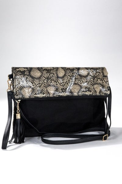 Slither on By Snake Skin and Black Velvet Crossbody Bag