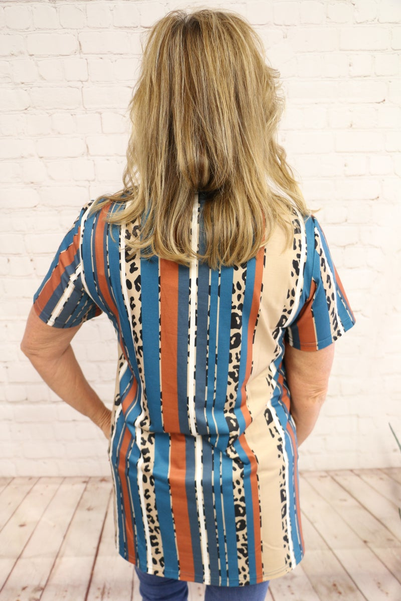 Wait for You Turquoise and Leopard Vertical Striped Lace Up Short Sleeve Top - Sizes 4-20