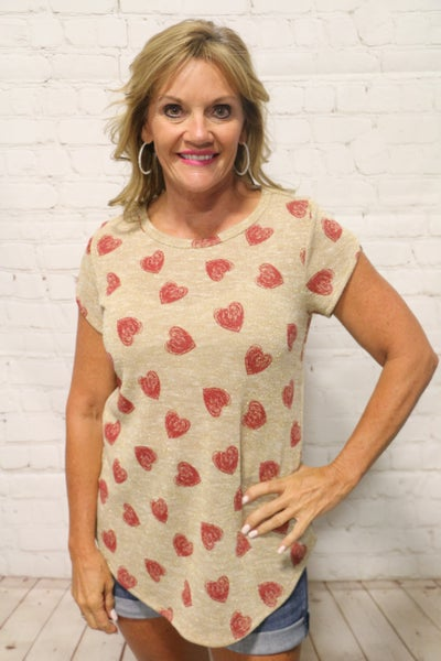 Always Happy Metallic Gold Tulip Top with Red Hearts - Sizes 4-12