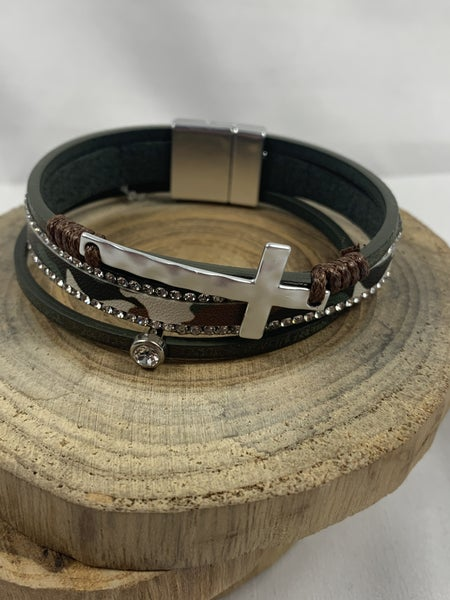 When We Were Young Olive And Camo 3 Strand Magnetic Clasp Bracelet With Silver Cross